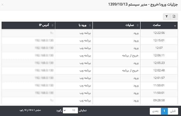 جزئیات بیشتر در گزارش ورود و خروج کاربر