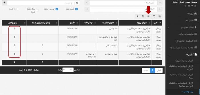 بروزرسانی اردیبهشت 1400 - کامل شدن گزارش ریز تایم شیت